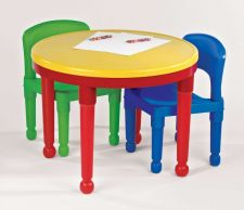 Buy Table Chair Set Bright Primary Colors LEGO Tot Tutors 2-in-1 Round Plastic Kids