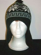 Buy Black white Gray earflap Hat size M youth