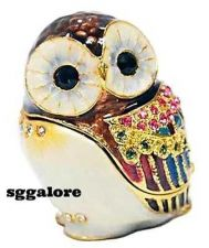 Buy Collectible RUCINNI Swarovski Crystals BeJeweled OWL Birds Trinket Jewelry BOX