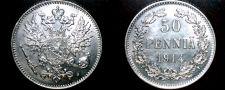 Buy 1914-S Finland 50 Pennia World Silver Coin Russian Admin