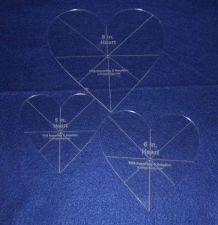 "Buy Laser Cut Quilt Templates - 1/8"" Acrylic-5,6,8 - 3 piece Heart Set w/guidelines"