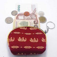 Buy THAI SILK WOVEN HANDCRAFT FABRIC ELEPHANT RED WALLET PURSE COIN BAG ZIPPER WOMAN