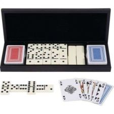 Buy New trade Alex brand 28pc Domino Set with 2 Decks of Cards in Wood Gift Box Case