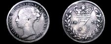 Buy 1875 Great Britain 3 Pence World Silver Coin - UK
