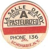 Buy New York Schoharie Milk Bottle Cap Name/Subject: La Salle Dairy Grade A Mi~428