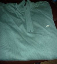 Buy Mens Lacoste Sweater 1/4 Zip Green Size 6 US L large