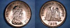 Buy 1974 Falkland Islands 1 Penny World Coin - Penguins