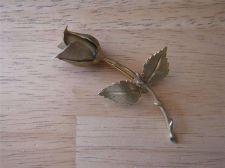Buy Vintage Giovanni Signed Goldtone Long Stem Rose Pin / Brooch