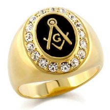 Buy Gold Plated Masonic Ring Outlined with Cubic Zirconia