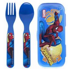Buy Spiderman Fork & Spoon W/Travel Case - Perfect for Super Hero Lunchbox! - New!