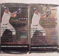 Buy 2001 FLEER TRIPLE CROWN baseball HOBBY PACK - 2 packs sealed