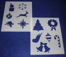 Buy 2 Piece Set -Mylar 14 Mil Holiday Stencils Painting/Crafts/Stencil/Template