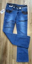 Buy Club JEANS Boot Cut Stretch Blue 95% Cotton Sequins Leather Women SIZE 7 NWT