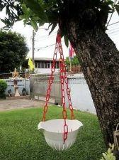 Buy DIY Flower Sky Plastic Pot Basket Grow Plants Herbs Seeds Pot Hanging Chain
