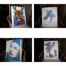 Buy Ferdie Pacheco 4 Signed Lithographs W.C Fields The Duke John Wayne Greta Garbo