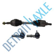 Buy Front Passenger Side CV Joint Drive Axle Shaft w/o ABS + 2 Outer Tie Rod Ends