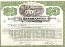 Buy New York New York City Stock Certificate Company: New York Central Railroa~105