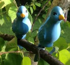 Buy Blue Bird Pair With Branch Clamp - Garden Decor, Outdoor Areas NEW