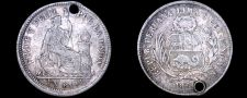 Buy 1861-YB South Peruvian 1 Real World Silver Coin - South Peru - Holed