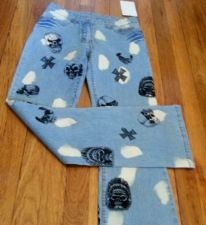 Buy Stretch MGY Boot Cut Blue JEANS 95% Cotton Skulls & Cross pattern Women's SIZE 5