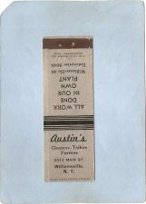 Buy New York Williamsville Matchcover Austin's Cleaners-Tailors -Furriers 5543~2448
