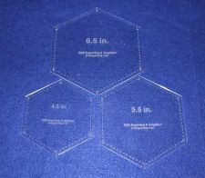 "Buy 3 Piece Set Quilt Hexagons 1/8"" Templates 4.5"", 5.5"", 6.5"" w/ guide holes"