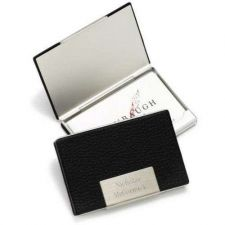 Buy Black Leather Business Card Holder - Free Personalization