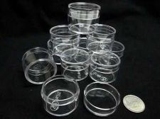 "Buy 144 Small Clear High Quality Plastic Display Box Diameter 1"" Lid Miniature Beads"