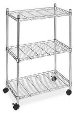 Buy Chrome Office Shelf Space Cart Supreme Roller Cart Steel Construction Material