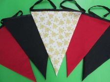 Buy Golden Christmas Tree,Red Black Pennants Fabric Bunting Double Sided Banner 6 ft