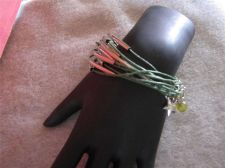 Buy Womens Green Cable Charm bracelet # 80