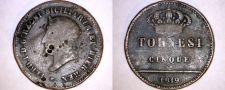 Buy 1819 Italian States Naples 5 Tornesi World Coin - Italy