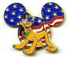 Buy Disney Mickey Head Pluto DLR Cast Member - Patriotic 3D pin/pins