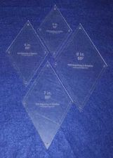 """Buy Quilt Templates-60 Degree Diamond Set-5,6,7,8.- 4 pieces -Acrylic 1/8"""" w/guides"""
