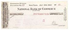 Buy New York New York Cancelled Check Nationl Bank Of Commerce Check #17 Dated~82