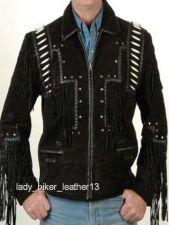 Buy Mens Biker BRAIDED BONED Black SUEDE Leather WESTERN FRINGE Motorcycle Jacket