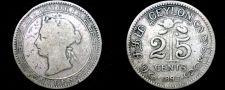 Buy 1893 Ceylon Sri Lanka 25 Cent World Silver Coin - British Admin