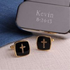 Buy Gold Cross Cufflinks with Personalized Case