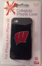 "Buy University Of Wisconsin Badgers ""W"" iPhone 4 & 4S Case / Cover -Black W/ Red ""W"""