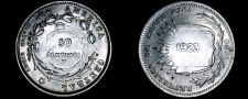 Buy 1923 Costa Rican 50 Centimos World Coin - Costa Rica - Counterstamped on 1890
