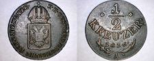 Buy 1816-A Austrian 1/2 Kreuzer World Coin - Austria