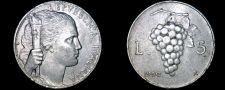 Buy 1950 Italian 5 Lire World Coin - Italy - Grapes