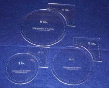 """Buy 6 Piece Set Quilt Templates 1/8"""" Clear Acrylic - Circle within Square Set"""