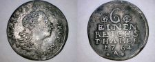 Buy 1764-A German States Prussia 1/6 Thaler World Silver Coin