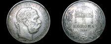 Buy 1896 Austrian 1 Corona World Silver Coin - Austria
