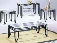 Buy Coffee and 2 End Table Set Metal Glass Accent Living Room Family Den Furniture