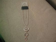 "Buy Silver tone Hoop & Rhinestone necklace...18"" - 24"" # 3103"
