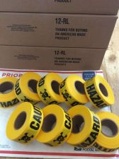 "Buy Lot of 8 Yellow Hazard Skull & Crossbone FLAGGING Tape 1 3/16"" X 300'"