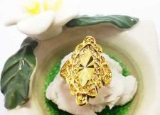 Buy THAI YELLOW NATURAL GOLD PLATE FLOWER RING JEWELRY DELUXE MAN WOMAN SIZE 10