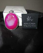 Buy NWT Khazana Large Oval Pendant Pink Druzy Geode .925 Sterling Silver Pendant New